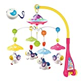 SoonFun Musical Baby Crib Mobile with Star Projector Function and Cartoon Animal Rattles, Remote Control Mobile Music Box with 108 Melodies, Toy for Newborn Sleep-Pony