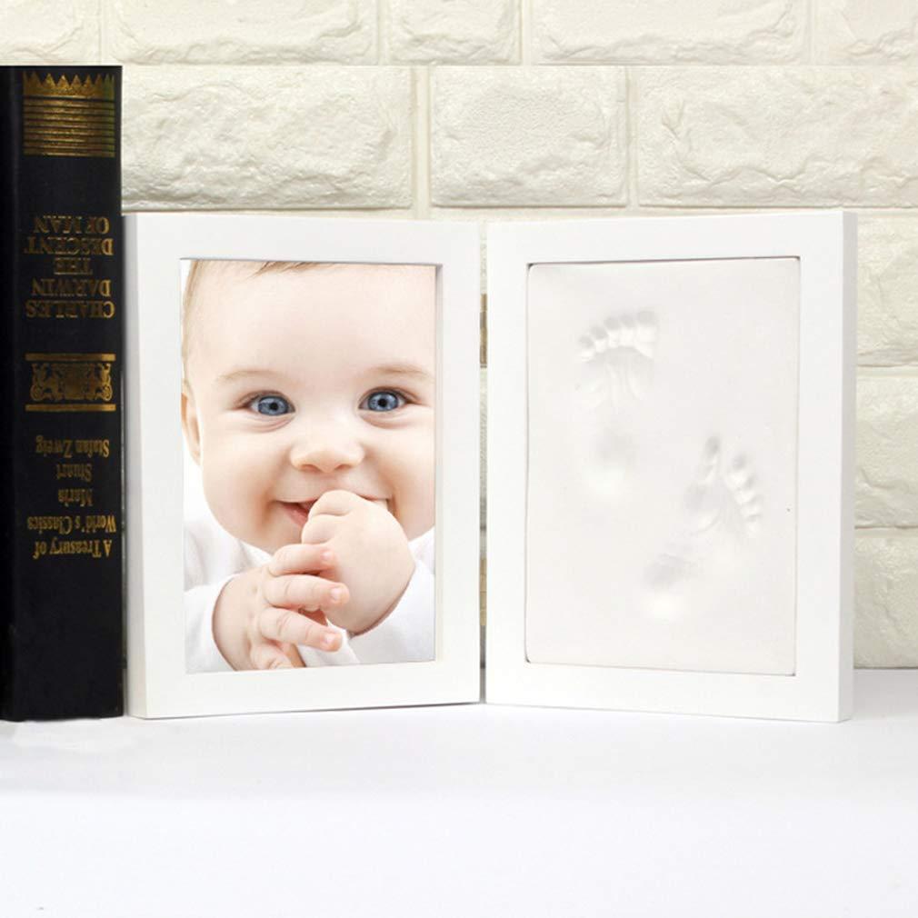 Baby Handabdruck und Fu/ßabdruck Fotos Rahmen für Baby Geburt oder Taufe Ideales Babygeschenk f/ür Zimmer Wand oder Tischdekoration NiceMeet Fotoalbum Baby Bilderrahmen aus Holz mit Gipsabdruck