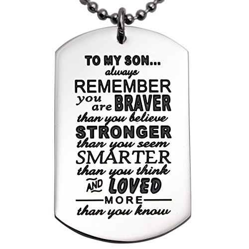 Mommy Charm - Son Gifts From Dad Mom Daddy Mommy You Are Braver Than You Believe Necklace Jewelry For Kids Pendant Dog Tag (Necklace)