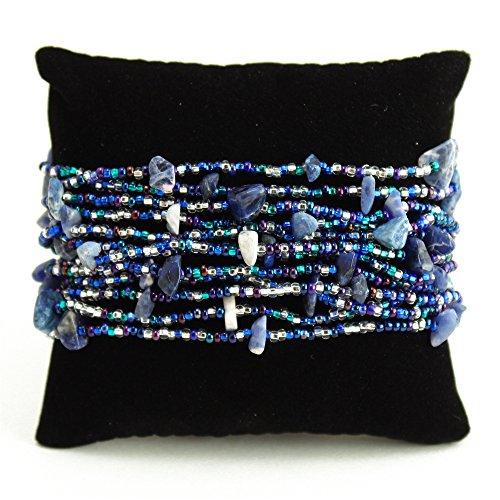 Blue Crystal Glass Beads Stranded Bracelet Hand Made Elegant Guatemala Fair Trade *BR146-108*