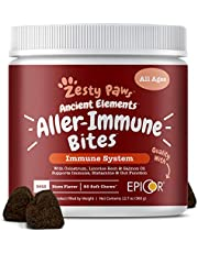 Zesty Paws Allergy Immune Supplement for Dogs - with Omega 3 Wild Alaskan Salmon Fish Oil & EpiCor + Digestive Prebiotics & Probiotics - Anti Itch & Skin Hot Spots + Seasonal Allergies