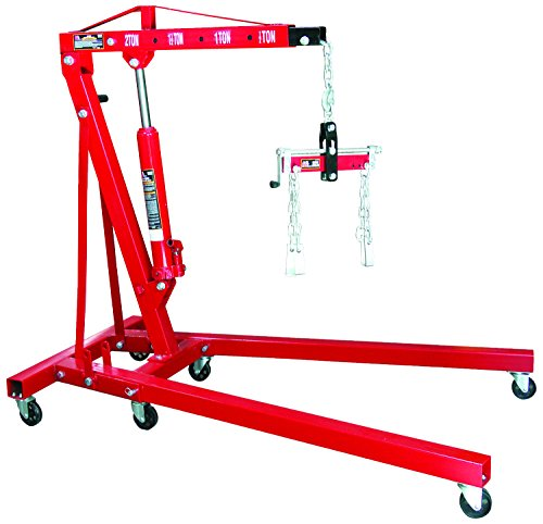 Torin Big Red Steel Engine Hoist / Shop Crane with Foldable Frame and Engine Leveler, 2 Ton (4,000 lb) Capacity