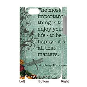 Audrey Hepburn Quotes Customized 3D Cover Case for Iphone 4,4S,custom phone case ygtg-780555 by ruishername