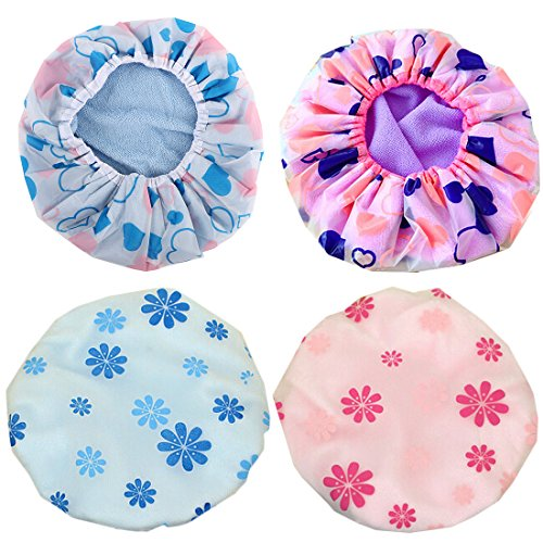 kilofly 4pc Waterproof Reusable Bath Hat Beauty Salon Spa Terry Lined Shower -