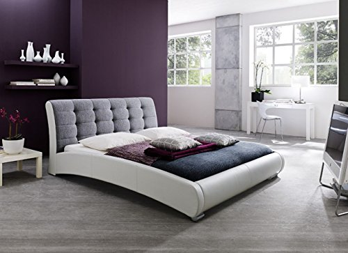 Baxton Studio Guerin Contemporary White Faux Leather Fabric Two Tone Upholstered Grid Tufted Platform Bed, King, Grey