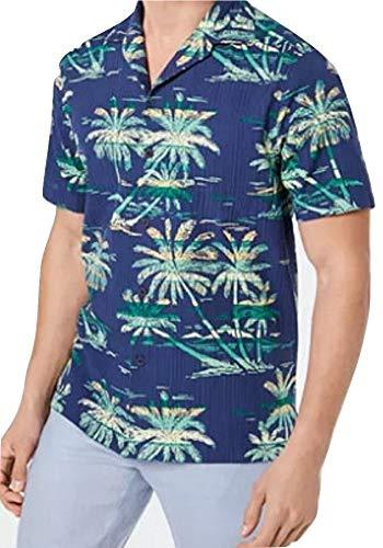 Tommy Bahama Island Grove Silk Blend Camp Shirt (Color: Throne Blue, Size XXL)