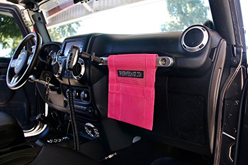 SPIDERWEBSHADE Jeep Wrangler Mesh GrabBag Passenger Accessory Storage Pouch Organizer USA Made with 5 Year Warranty in Pink