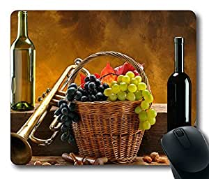 Wine Bottle N Grapes Basket Masterpiece Limited Design Oblong Mouse Pad by Cases & Mousepads wangjiang maoyi
