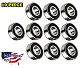10-Pieces 6205 2RS Ball Bearing 25x52x15mm, Rubber Sealed Deep Groove by Jeremywell