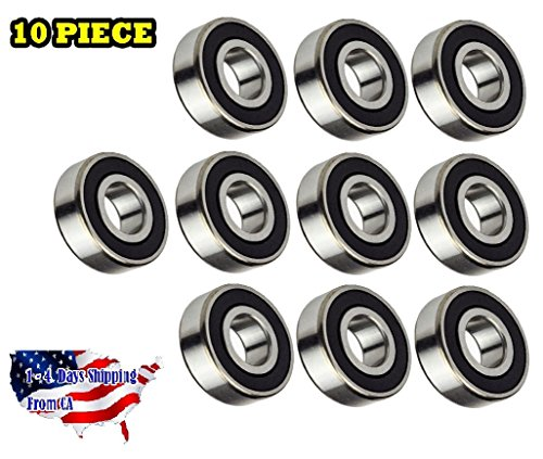 10-Pieces 6205 2RS Ball Bearing 25x52x15mm, Rubber Sealed Deep Groove by - 10 Id Bearing