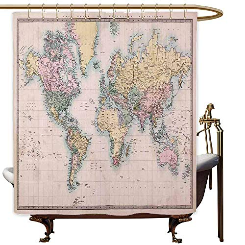 SKDSArts Shower Curtains Zebra World Map,Original Old Hand Colored Map of The World Anthique Chart for Old Emperors Print,Multicolor,W65 x L72,Shower Curtain for Girls (Footstool Zebra Print)