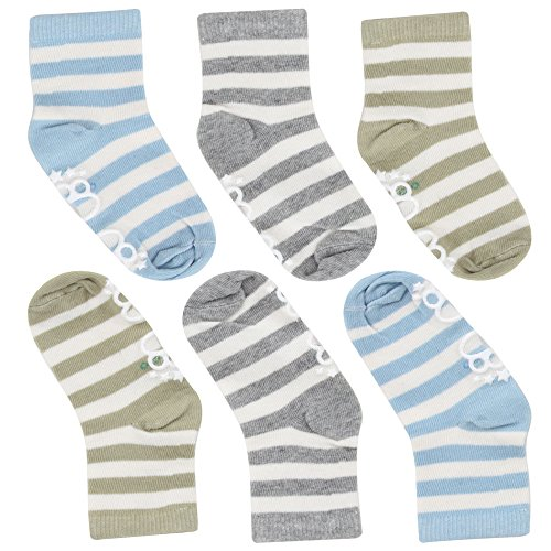 Cottonful 100% Cotton Contact Kids/Toddlers Socks (Toddler, Striped Boy) Cotton Boys Socks