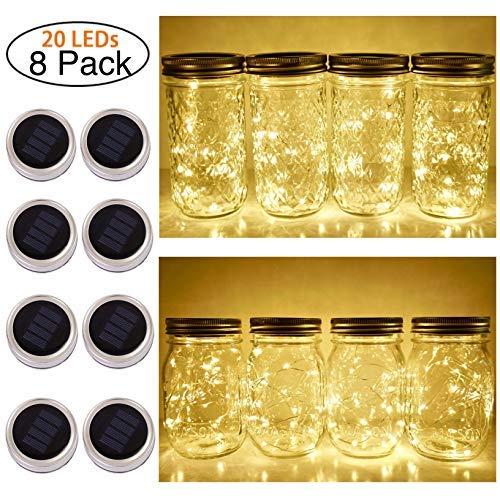 Solar Mason Jar Lid String Lights, 8 Pack 20 Led String Fairy Star Firefly Jar Lids Lights (Jars Not Included), for Mason Jar Patio Garden Wedding Lantern Table Decoration( No Hangers (Warm Wite) [並行輸入品]   B07RBQNJRQ