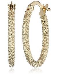 "14k Yellow Gold Oval Hoop Earrings (0.6"" Diameter)"
