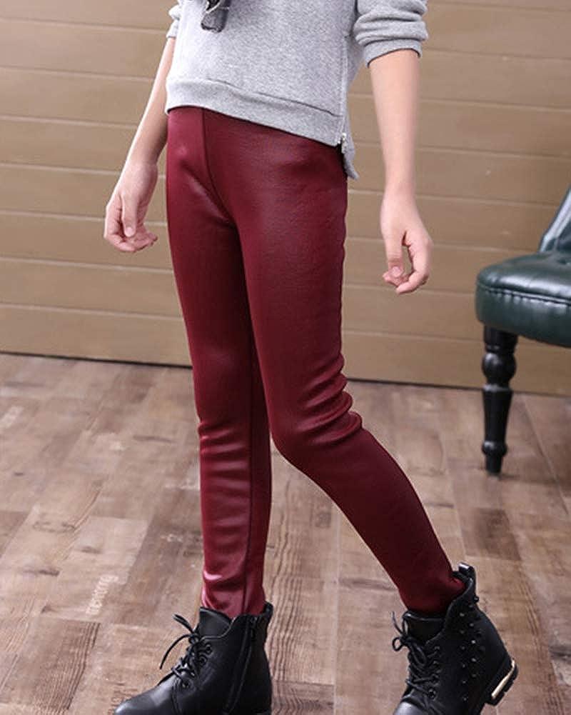 85ceb2475b Cálido Infantil Polipiel Leggings para Niñas Largo Pantalones De Pana  Leggins Vino Rojo 160  Amazon.es  Ropa y accesorios