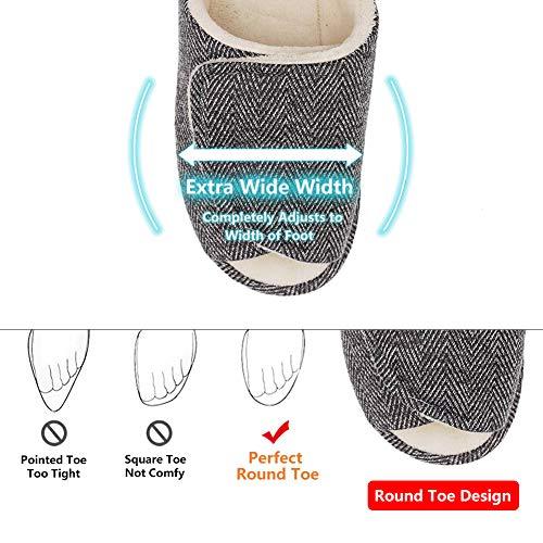 087d0cc5682ed5 Women s Slip On Slide Slipper Extra Wide Adjustable Open Toe Plush Terry  Shoes for Swollen Flat