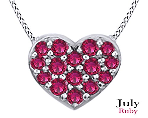Round Cut Simulated Ruby Heart Pendant Necklace In 14k White Gold Over Sterling (Ruby Pave)