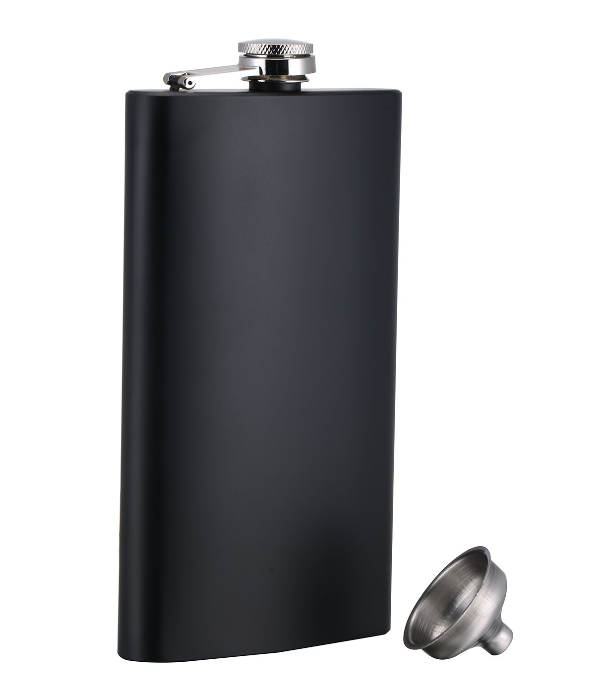 TOX TANEAXON 12 oz Matte Black Pocket Liquor Whiskey Hip Flask with Funnel and Premium Box - Stainless Steel and Leak Proof