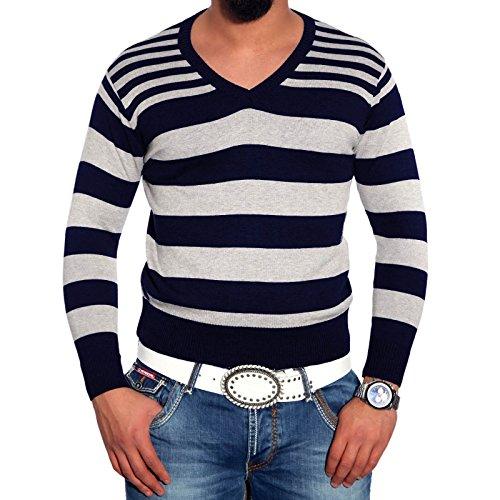 Herrenpullover Pulli Sweatshirt Strickjacke Sweater Kontrast Langarmshirt Herren, Größe:L, Farbe:Marine