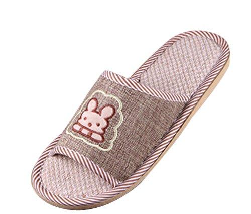 Zapatillas De Casa Cattior Hombres Bunny Flax House Slippers Marrón