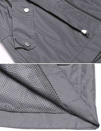 Ligera Capucha Claro Gabardina Resistente Viento Lluvia Lomon Gris para con al Mujer Impermeable Chaqueta Abrigo de q0Z7I7