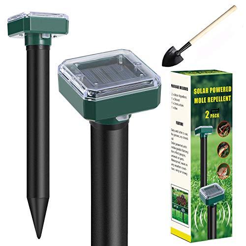 Mole Repellent, Solar Powered Mole Repellent, 2 Pack Gopher Repellent Ultrasonic for Lawn Garden & Yard, Snake Repellent…