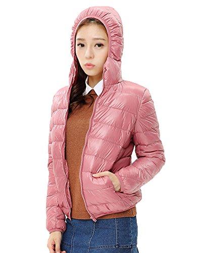 ZhuiKun Chaquetas Plumas con Mujer Pink Ligero para Capucha Chaqueta de FBranqUwF