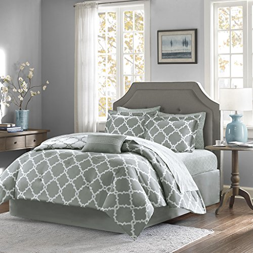 Madison Park Essentials Merritt Queen Size Bed Comforter Set Bed In A Bag – Grey, Geometric – 9 Pieces Bedding Sets – Ultra Soft Microfiber Bedroom Comforters