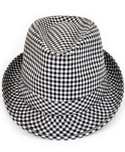 Checkered Cool Cat Fedora Hat (Checkered Fedora Adult Hat)