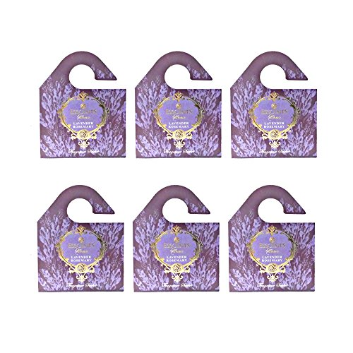 Esscents Home Set of 6 Wooden Board Sachets - Naturally Scented and Long Lasting - Jasmine, Lavender, Floral, Ocean, Rose, Sandalwood (Lavender Rosemary) by Esscents Home