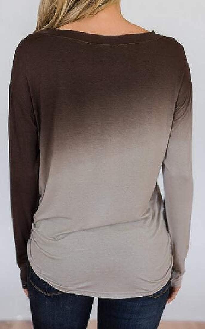 Zantt Womens Gradient Color Fall-Winter Long Sleeve Crew Neck Slim T-Shirt Blouse Top