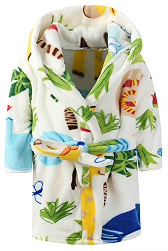 Ameyda Toddlers/Kids Hooded Robe Fleece Bathrobe Cartoon Pajamas