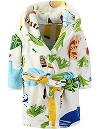 Ameyda Unisex Children's Flannel Bathrobes Hoodie, 1...
