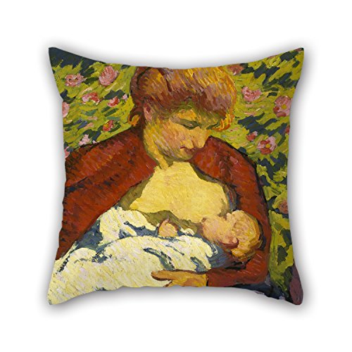 fan products of oil painting Giovanni Giacometti - Young Mother pillowcase 16 x 16 inches / 40 by 40 cm best choice for father,kitchen,drawing room,boys,bedding,wife with both sides