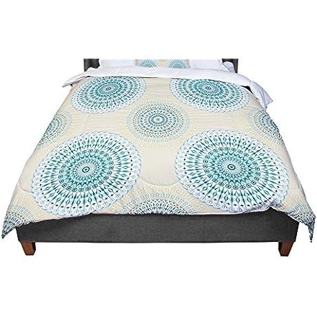 KESS InHouse Julia Grifol Soft Mandalas Green Yellow Twin Comforter 68 X 88