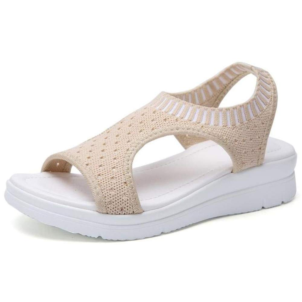 Sara Love Womens Ladies Platform Sandals Wedges Open Toe Fish Mouth Summer Beach Casual Flip Flops Elastic T-Strap Flat Beige