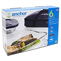 Anchor Hocking Oven Basics 6-Piece Bake-N-Take Bakeware Set (6-Piece Set w/Portable bag)