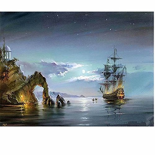 SUBERY DIY Oil Painting Paint by Numbers Kits for Adults Kids Beginner Gifts by Hand Colouring - 16x20 inches (Frameless) (Sea Landscape)