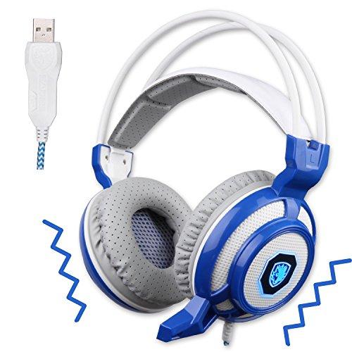 Vibration Gaming Headset Headphones Microphone Lights