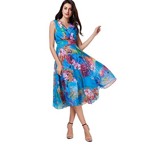 Printed Chiffon Long Dress - 3