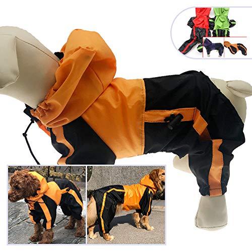 lovelonglong Dog Hooded Raincoat, Large Dog Rain Jacket Poncho Waterproof Clothes with Hood Breathable 4 Feet Four Legs Rain Coats for Small Medium Large Pet Dogs Orange L-XL ()
