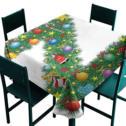 Warm Family Letter Z Polyester tableclothTraditional Themed Font Design Z with Colorful Ornaments Christmas Santa Claus Indoor Outdoor Camping Picnic W36 x -