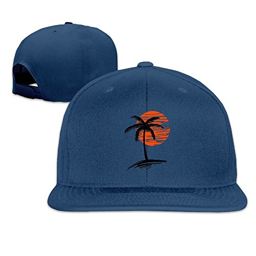 Palm Tree Moon Simple Pattern Cool Hat Plain Adjustable (Nitro Pattern)