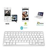 [Mega1Comp] Universal Bluetooth Keyboard for IOS Android Windows Device, Ultra-Slim Wireless Portable Keyboard for Apple iPad Air Pro, Mini iPad, iPhone X/8 7 Plus 6S 6, Samsung Tablet Smartphone