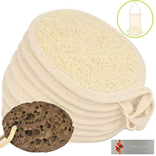 Crovin Exfoliating Loofah Pads 8 PACKS + 2 FREE (Loofah Back Scrubber and Foot Pumices) - Natural Luffa Sponge Brush Close Skin For Men and Women When Bath Spa and Shower