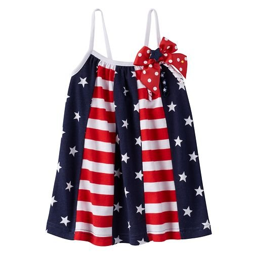 Sophie Rose Baby Girl Patriotic American Flag Pieced Sundress (24 Months)