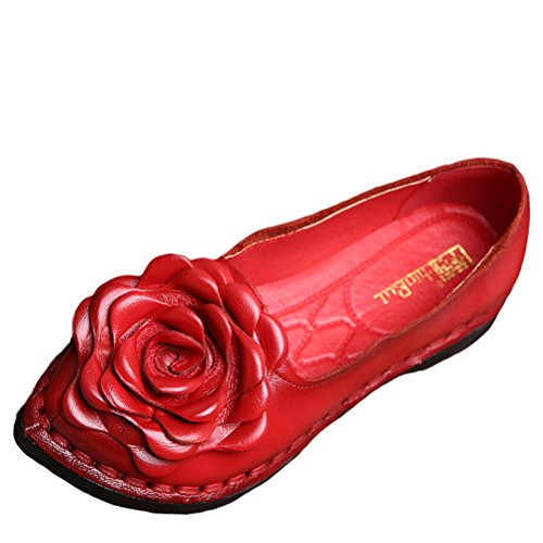Mordenmiss Women's Fall New Flat Flower Pattern Shoes Style 5 US 9 Red