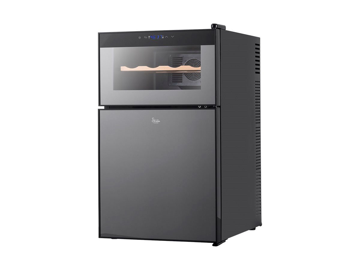 Monoprice 2-in-1 Wine and Beverage Cooler - Black With Dual Thermostats, Touch Screen Controls, Interior LEDs - From Strata Home Collection 124211