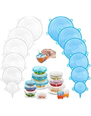 Silicone Stretch Lids (12 Pack, 2 Color), Zero Waste Reusable Silicon Container Lid for Cover Leftover Food and Fruit or Bowl (Blue and White)