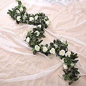 GSD2FF Artificial Rose Flower Hanging Decorative Roses Vine Plants Leaves Artificial Garland Flowers Wedding Wall Decoration 27